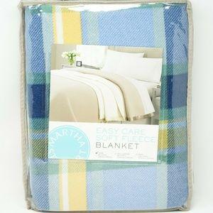 Soft Fleece Blanket, Blue/Yellow Plaid - TWIN